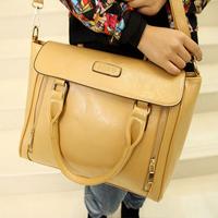 Winter women's messenger bag high quality PU white collar computer briefcase handbag