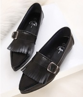 2014 cowhide tassel pointed toe casual shoes single comfortable genuine leather women's shoes ol