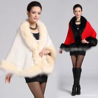 Promotion 2014 New Autumn Winter Women Lady Vintage Fashion Elegant Casual faux fur jacket PONCHO CAPE Celebrity Outwear