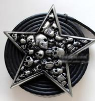 Free shipping New 2014 Pentagram Skull Hip hop Skull belt buckle Classic Metal Men's belt accessories