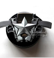 Free shipping Two guns pentagram smooth kerosene lighter Jeans belt buckle Fashion
