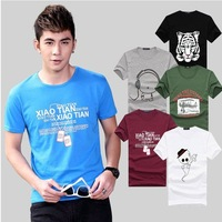 2014 New Men's pure color render unlined upper garment printing T-shirt with short sleeves men T-shirt  cultivate one's morality