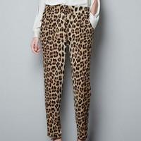 New Fashion womens' Leopard print pants elegant slim look loose trousers casual leisure brand designer pants 4078