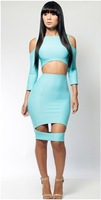 2014 spring new sexy club party bandage bodycon summer Hole dress women 3/4 sleeve fashion women 2014 clothes sky blue S M L
