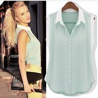New 2014 summer women casual chiffon shirt women blouses plus size loose sleeveless ladies blouses women clothing XXL