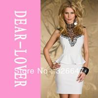 Elegant Women Embroidered High Neck work Peplum Dress New Dress LC2936 business dress lusa de renda vestidos fiest