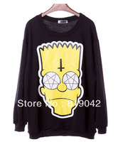 11.99$=Monkey King 2014 Fashion Cartoon Simpson head print hoodies sweatshirt Galaxy tops Black plus size pullovers S/M/L