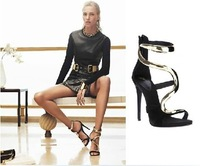 New 2014 Women High Heel Sandals with Metal Fashion Women Pumps Brand Sexy Gladiator Shoes Sapatos Big Size EU41