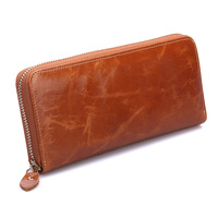 Women's wallet genuine leather wallets female long design oil wax cowhide wallet women's clutch purse