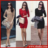 H&Q New 2014 Women Fashion Long-sleeve Dresses Elegant Plus Size Slim Knee-length Bodycon ONE-PIECE DRESS For Work S-XXXL WA439
