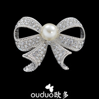 2014 New rhinestone brooches with pearl lovely women's bow brooch top quality $10 FREE shipping