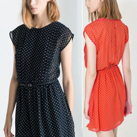 2014 spring and summer women's fashion o-neck dot one-piece dress pleated skirt short skirt with belt
