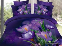 Designer purple flowers women girls full king queen size 3d coverlet linens sheet bedding set comforter sets duvet cover bed set
