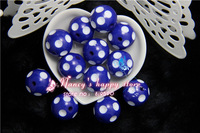Free shipping 100PCS/Lot  dark blue Color 20MM Resin Polk Dot Beads, Acrylic Round Chunky Beads for Chunky Necklace Jewelry
