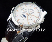 44MM Parnis White globe Dial golden number Automatic mechanical mens WATCH PN248