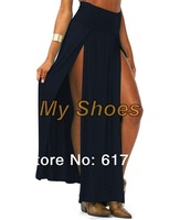 Free Shipping 2014 New Popular Trends High Waisted Double Slits Long Skirt Sexy Women Maxi Skirt  4 colors 18579