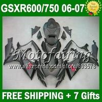 7gifts+CowlFor SUZUKI GSXR600 Matte black K6 06 07 2006 2007 GSXR750 GSX-R600 L#10585  06-07 GSX-R750 ALL Flat black Fairing