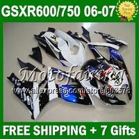 7gifts+Cowl GSX-R750 For SUZUKI GSXR600 06 07 GSX-R600 K6 L#10512  VIRU Blue white black GSXR750 2006 2007 Body Fairing Kit