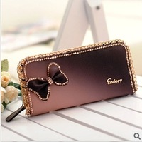 Bling new arrival women's fashion long design wallet with PU leather bow diamond and sweet chain