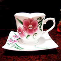 Fashion milk cup bone china and saucer gift box set ceramic embossed household ceramic tableware glass coffee cupwith tray