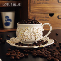 new fashion bone china ceramic embossed dish gold grapes and saucer set lovers milk tea disc belt spoon coffee cup