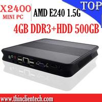 Retail and Wholesale Cheap Mini PC Windows OS 4GB DDR3,500GB HDD,AMD E240 1.5G CPU,Quality Guarrantee Cloud Computing Terminal