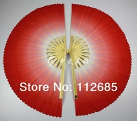 [CHINESE MARTIAL ARTS] Transition color bamboo magnolia double fan Kungfu mulan fan  tai chi performance 2 piece/pair