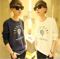 Autumn clothes male cartoon long t-shirt autumn men's clothing top male T-shirt o-neck long-sleeve