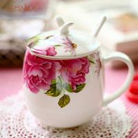 New china coffee cup bone china glass mug ceramic milk cup spoon belt  coffee cup colors can be choosed creative bone china cups