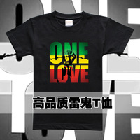 Cotton reggae t-shirt male short-sleeve bob marley rasta hiphop street plus size available