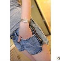 free shipping 2014 spring jeans zipper water wash women's low-waist denim shorts all-match boot cut jeans female