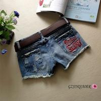 free shipping 2014 spring blue denim shorts women's single-shorts slim hole rivet embroidery