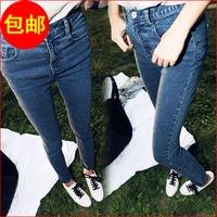 free shipping Fashion elastic women's denim trousers plus size slim hip vintage high waist pencil pants