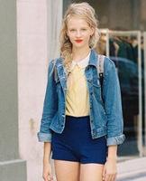 Summer vintage aa women's slim bottom micro tight-fitting elastic high waist denim short trousers