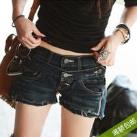 Autumn and winter women's double zipper fashion denim shorts tight slim hip boot cut jeans