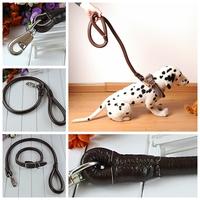 115CM Black genuine leather BIG DOG LEASH Training Walking with collar set PQ14