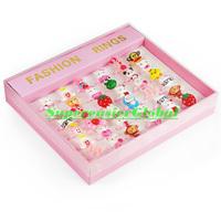 Plastic Rings Cartoon Style Lovely Frog Bear Pig Hello Kitty Flower For Children Girl Kids in Retail box Designs Mixed 36pcs/lot