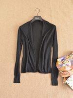 Fashion single women's linen cotton long-sleeve black short design cardigan thin all-match