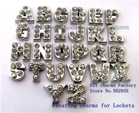 130pcs A-Z Full rhinestone Floating letters Fit Floating charms lockets