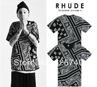 RHUDE LA BANDANA KTZ L hip hop t-shirts 2014 new style fashion free shipping mens t shirt hip-hop clothing cool high quality