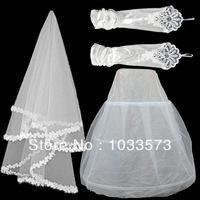 W-12 Hot sale Cheapeat 3 Pieces Set Hoop Wedding Bridal Gown Dress Petticoat Underskirt Crinoline Wedding Accessories
