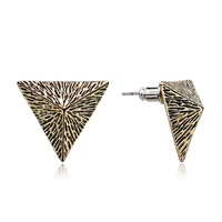 Free Shipping Vintage Pyramid Stud Earrings Gold Plated