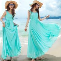 M-L  Free Shipping Women's vest dress elegant bohemia expansion bottom full dress solid color tank dress #F032