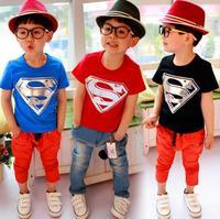 new 2014 child nova kids superman boys summer children outerwear t shirts fashion t shirt boys clothes 5pcs/lot free shipping