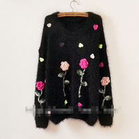 FREE SHIPPING flowers hand fancy work cute loose mohair sweaters
