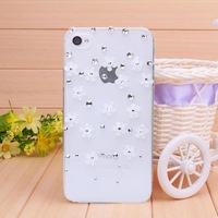 Case for iPhone 4 case for iPhone 4s  diamond small white flower phone bag 2014 new Mobile Border Protection free shipping