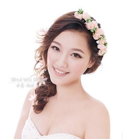 Wedding Hair jewelry. Garishness colour bride flower ribbon the wedding hair accessory bridesmaid hair accessory halo()