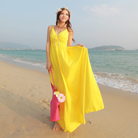 2014 free shipping v neck new fashion 100% cotton chiffon yellow bohemian dress ankle length beach seaside popular
