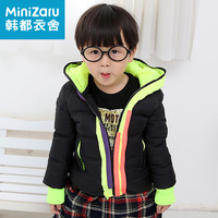 Minnie 2013 children's clothing winter male female child block color zipper with a hood short down coat zt3003 design