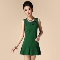 Free shipping 2014 spring and summer women's ladies elegant rose ruffle beading sleeveless one-piece dress